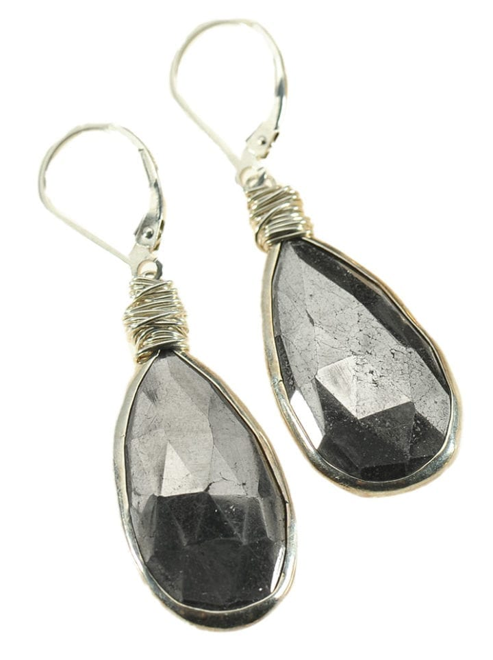 Silver Pyrite Tear Earrings
