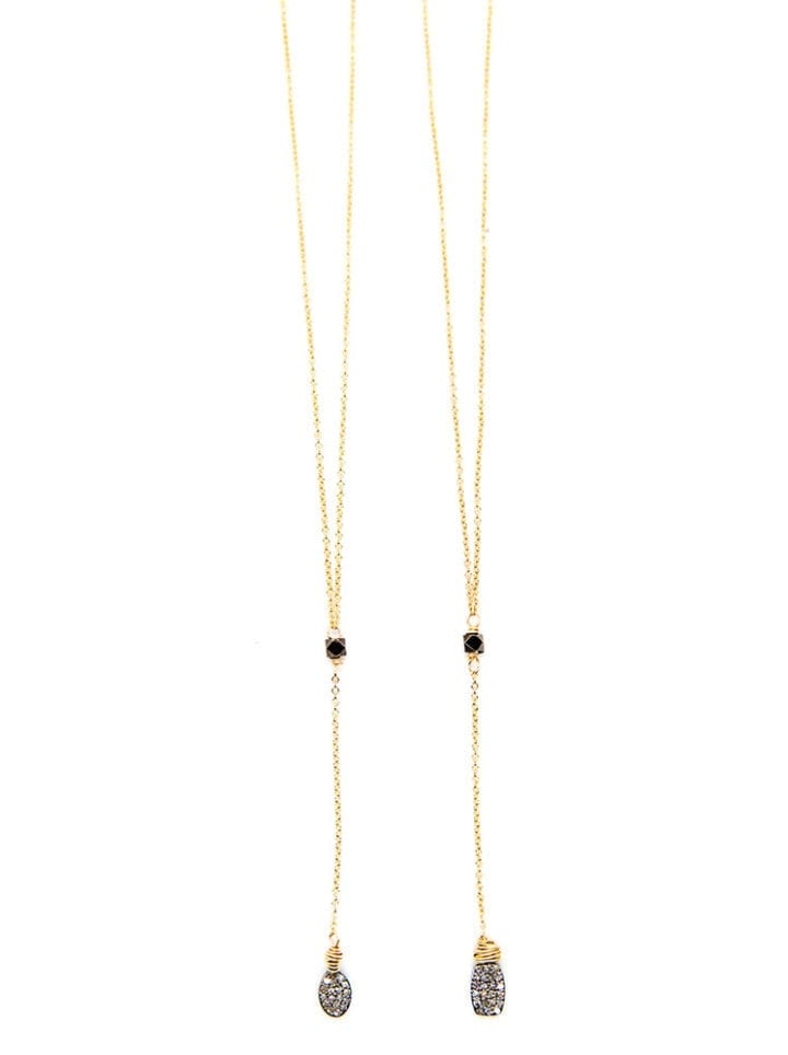 Pave Diamond Delicate Short Y Necklaces