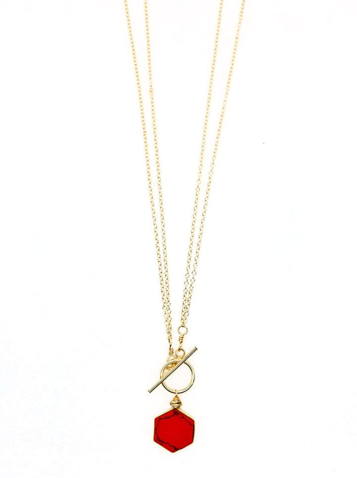 CN240 Coral Reef Collection - Hexagon Toggle Necklace