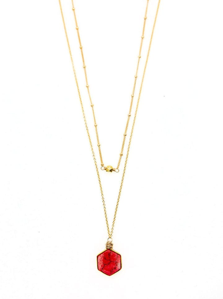 Coral Reef Collection Hexagon Multi Strand Delicate Necklace