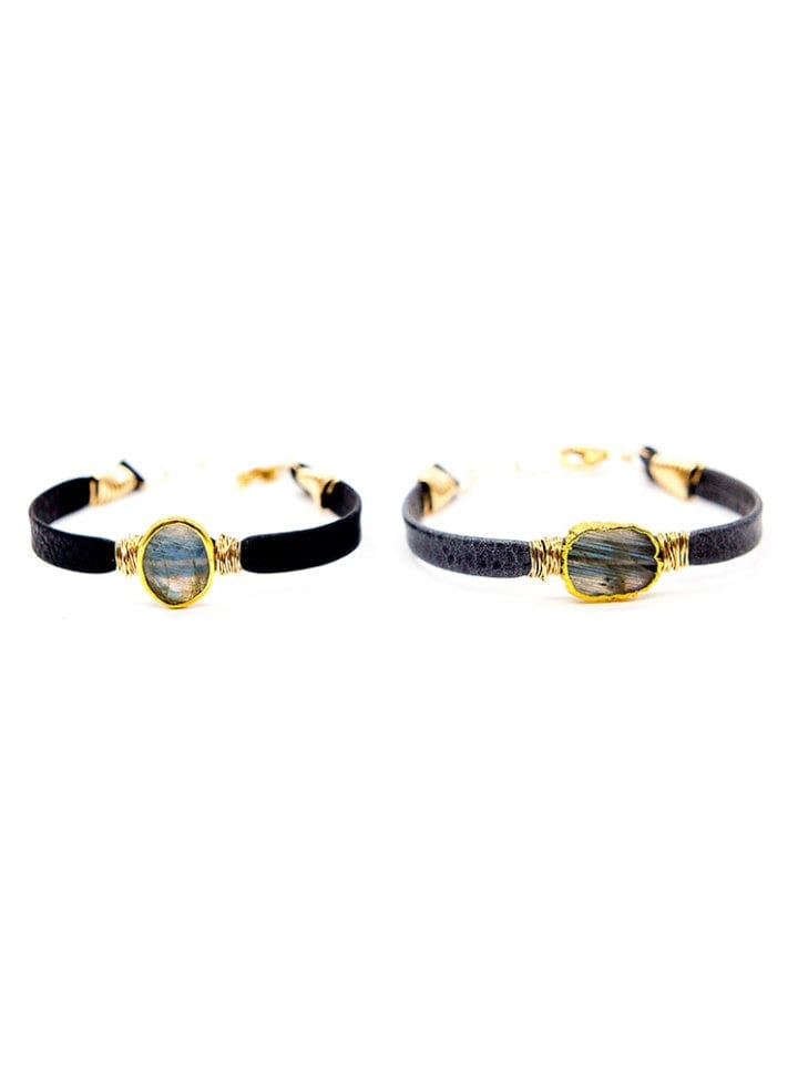 Labradorite leather hand wrapped bracelets