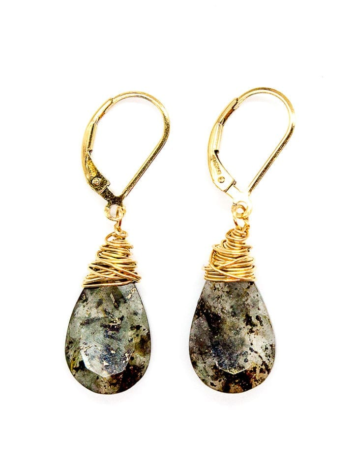 Moss agate tear drop earrings