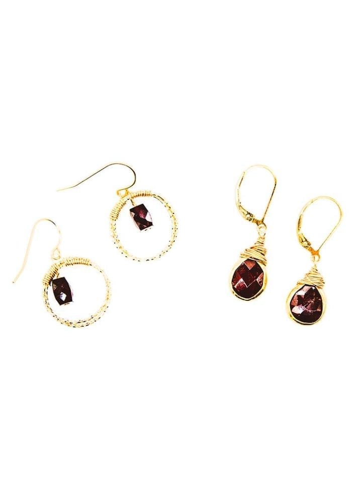garnet halo hoop, garnet tear drop earrings