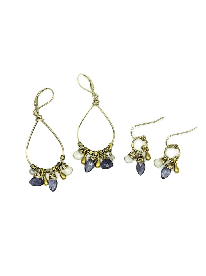 iolite cluster hoop and stardust cluster drop earrings