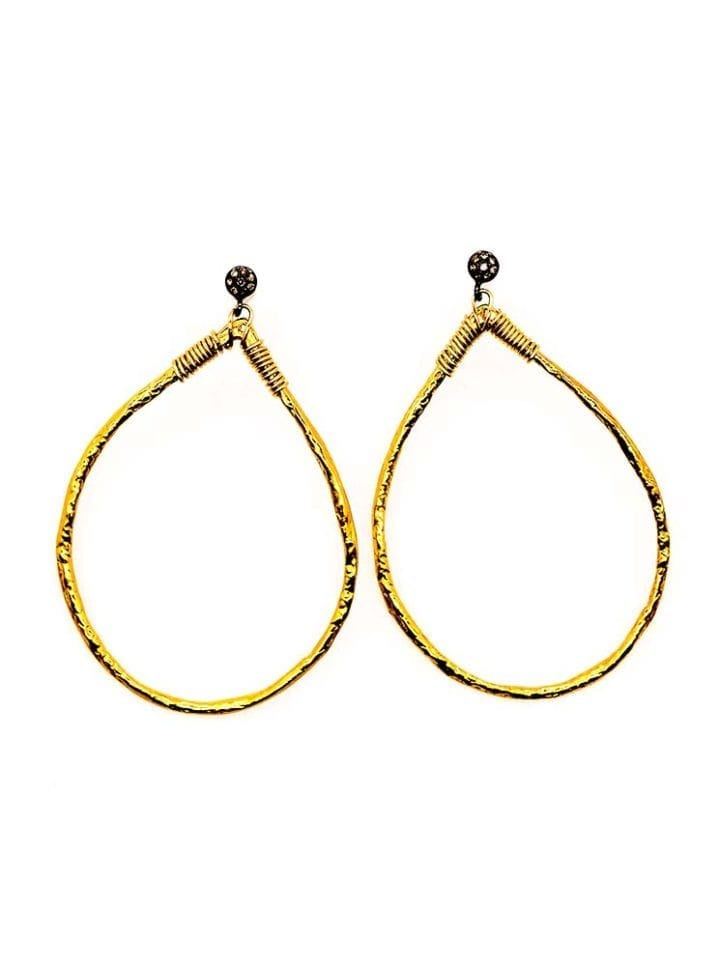 pave diamond tear hoops