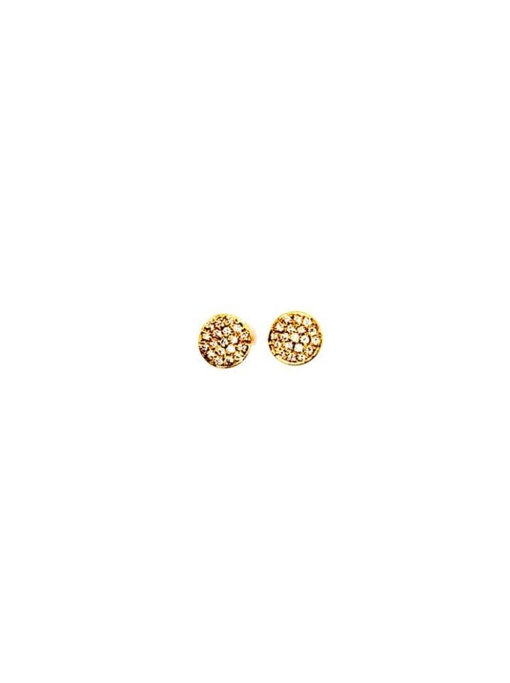 gold mini round pave diamond studs
