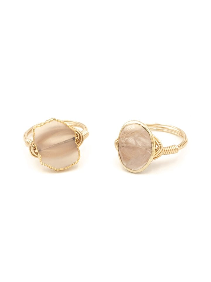 rose quartz wrapped ring
