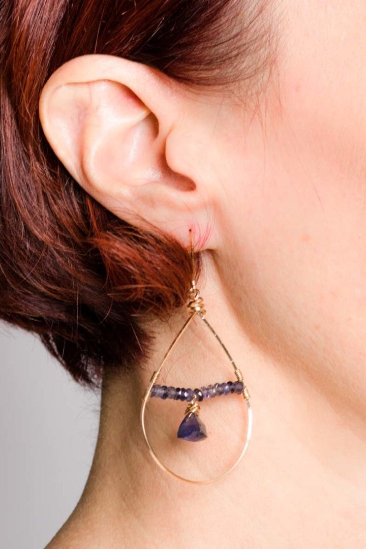 iolite floating hoops on model