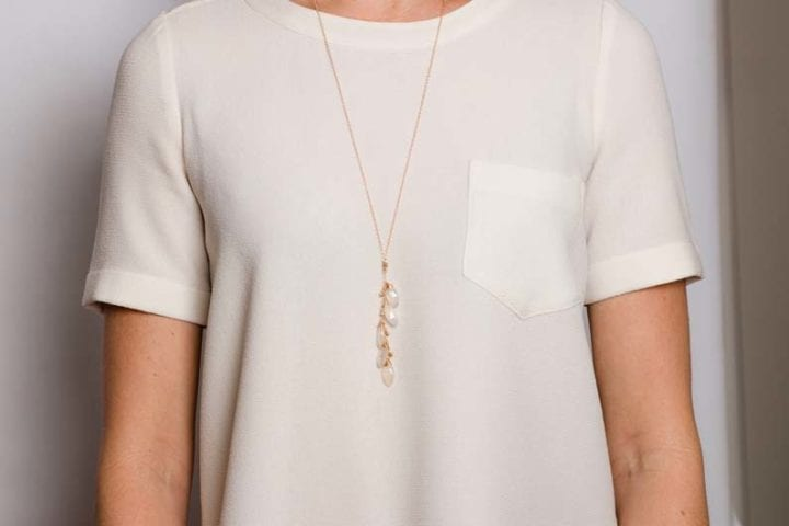 pearl chalcedony cluster long necklace