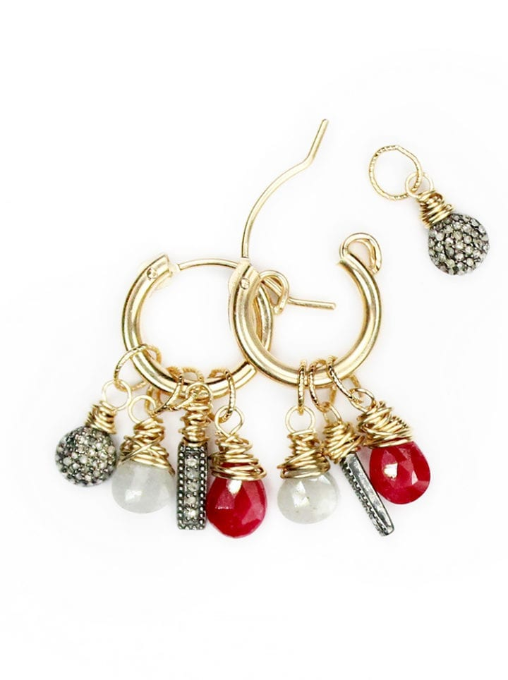 Pave diamond ruby and silverite classic charm hoops