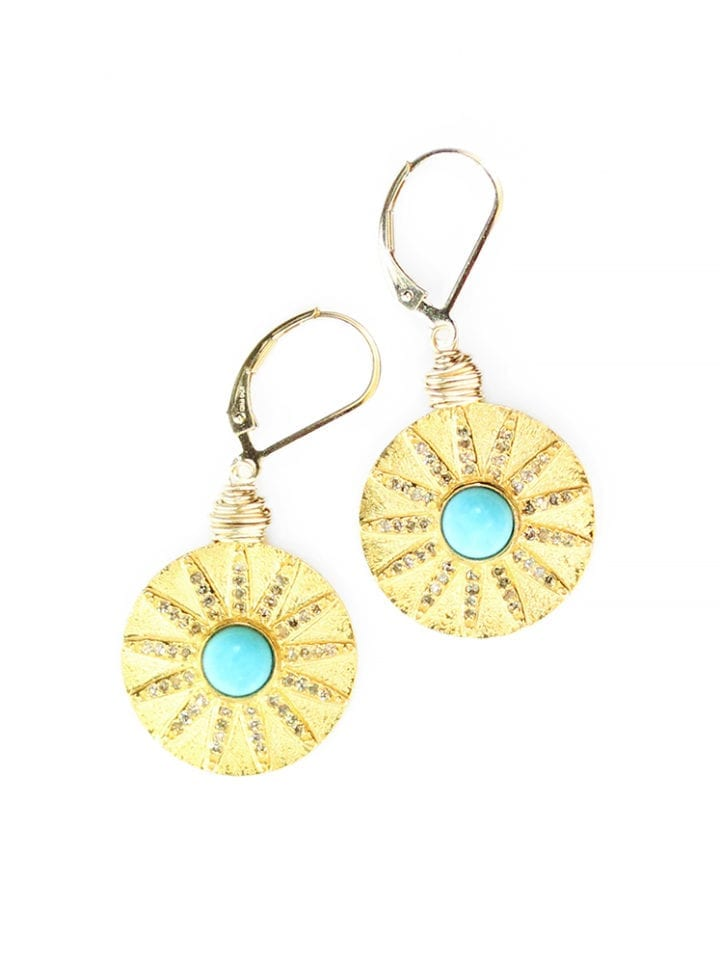 Turquoise Pave Diamond Coin Drop Earrings