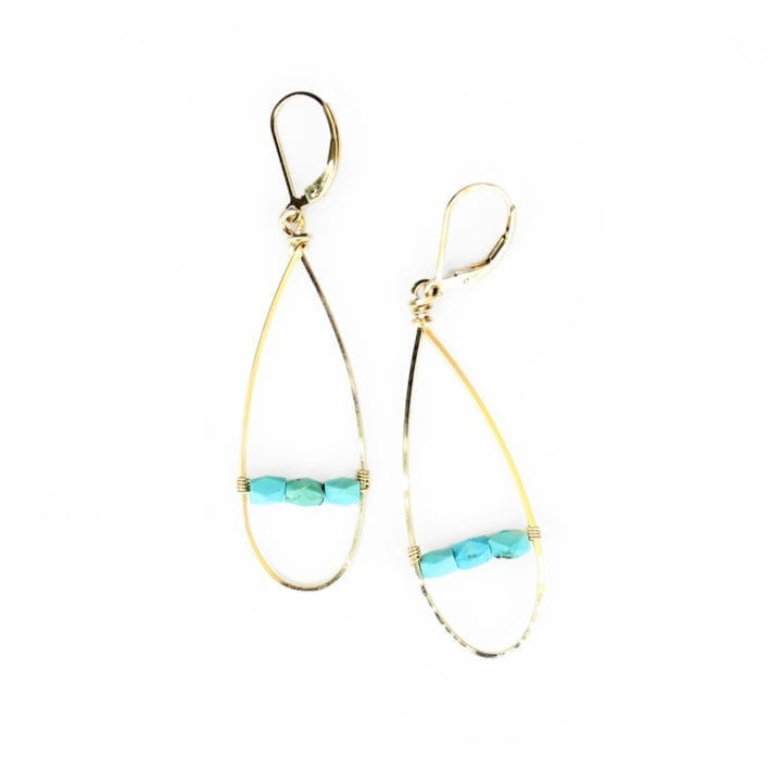 Turquoise Bridge Linear Hoops