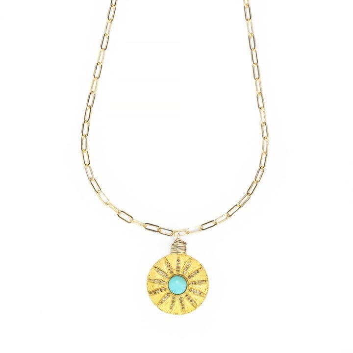 Turquoise Pave Diamond Brushed Coin Staple Necklace