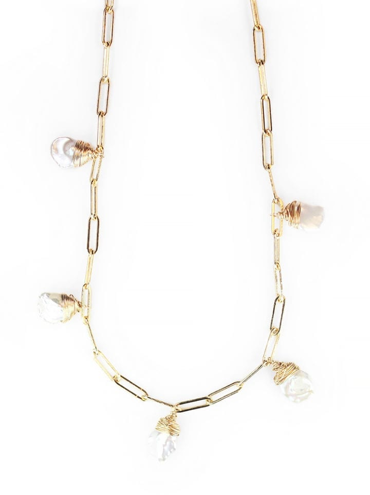 Petal Pearl Staple Mutli Drop Necklace