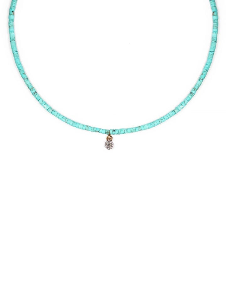 Green Turquoise Pave Hexagon Strung Short Necklace