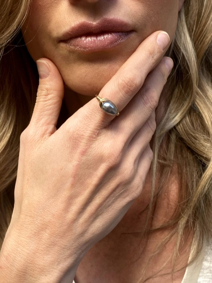 Gray Pearl Wrapped Ring