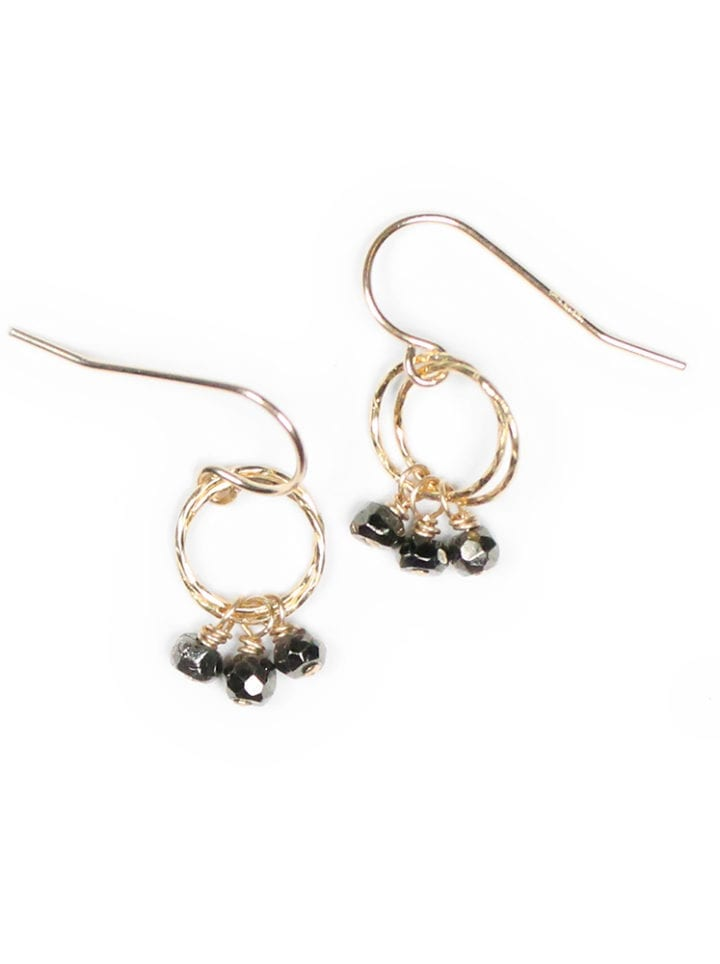 Pyrite Stardust Handcrafted Drop 14k gold filled earrings. Bloom Jewelry
