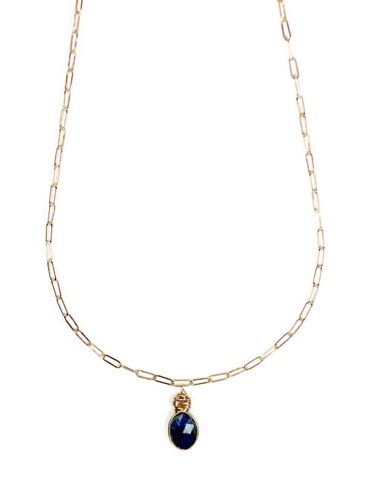 Sapphire Gold Paperclip Necklace